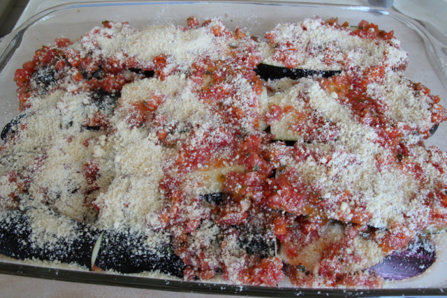 Eggplant Parmesan ready to go in the oven