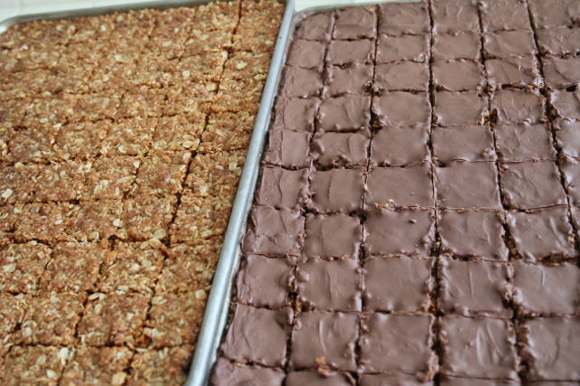 Plain and Chocolate Crunchies on baking sheets