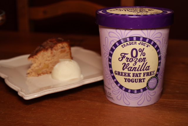Vanilla Yogurt with cake in background
